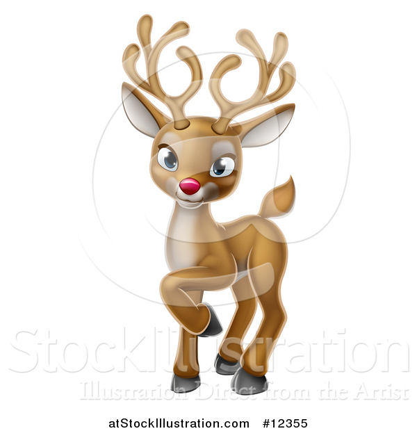 Vector Illustration of a Cute Red Nosed Christmas Reindeer