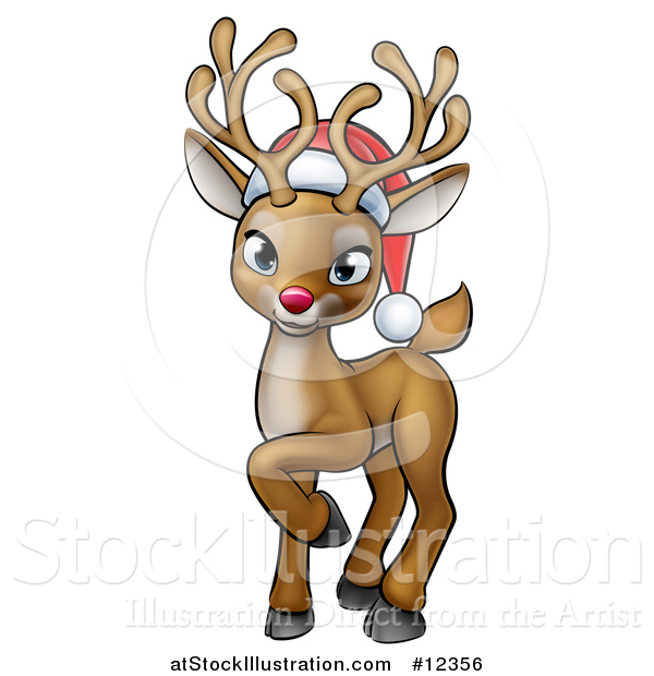 Vector Illustration of a Cute Red Nosed Christmas Reindeer Wearing a Santa Hat