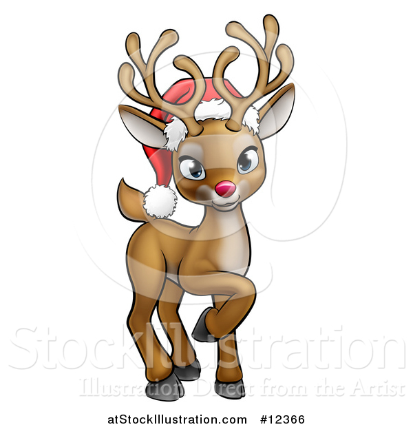 Vector Illustration of a Cute Red Nosed Reindeer Wearing a Christmas Santa Hat
