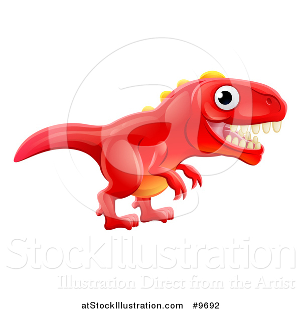 Vector Illustration of a Cute Red Tyrannosaurus Rex Dinosaur