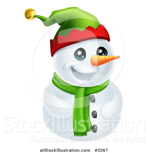 Vector Illustration of a Cute Snowman in a Scarf and Elf Hat