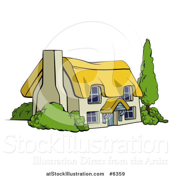 Vector Illustration of a Cute Thatched Roof Cottage Farm House