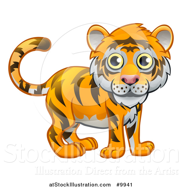 Vector Illustration of a Cute Tiger