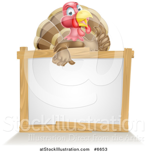 Vector Illustration of a Cute Turkey Bird Giving a Thumb up over a Sign