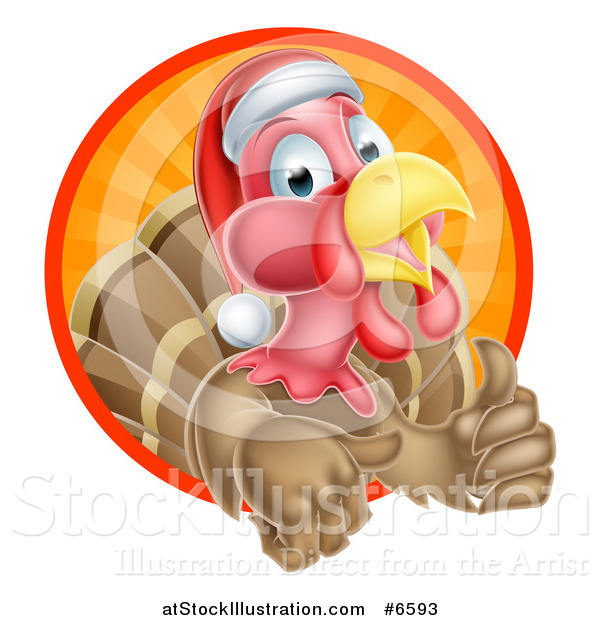 Vector Illustration of a Cute Turkey Bird Wearing a Santa Hat and Giving a Thumb up While Emerging from a Circle of Sunshine