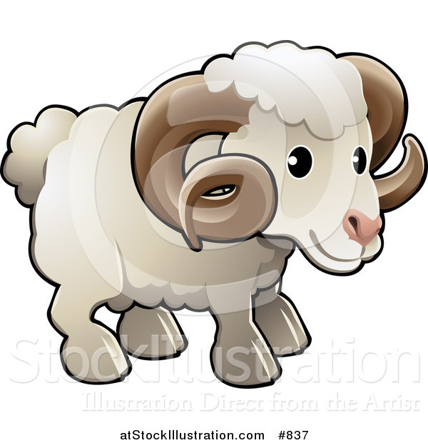 Vector Illustration of a Cute White Male Sheep, a Ram, with Brown Curly Horns