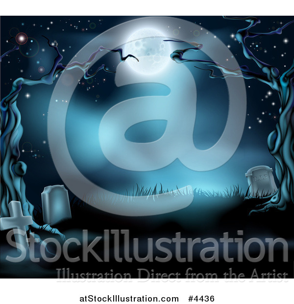 Vector Illustration of a Dark Spooky Cemetery with Tombstones and Bare Trees in the Moonlight