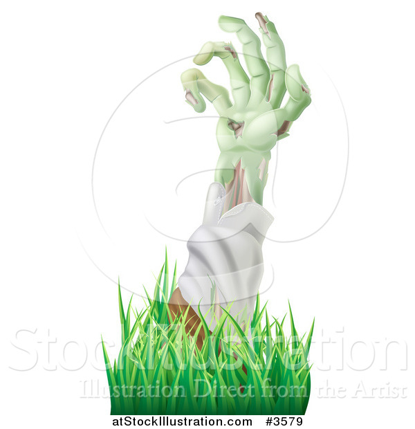 Vector Illustration of a Decaying Green Zombie Arm Reaching out Through Grass