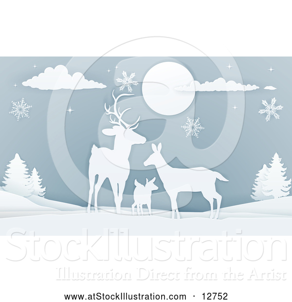 Vector Illustration of a Deer Family with Snowflakes at Night