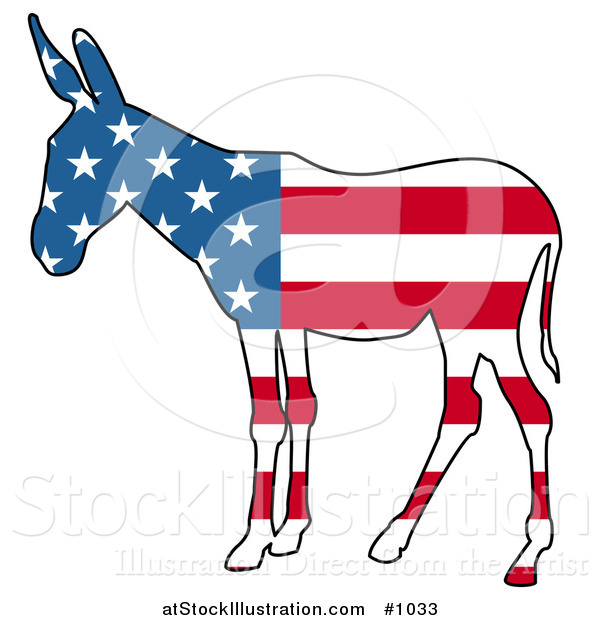 Vector Illustration of a Democratic Donkey American Flag