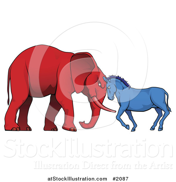 Vector Illustration of a Democratic Donkey and Republican Elephant Facing off