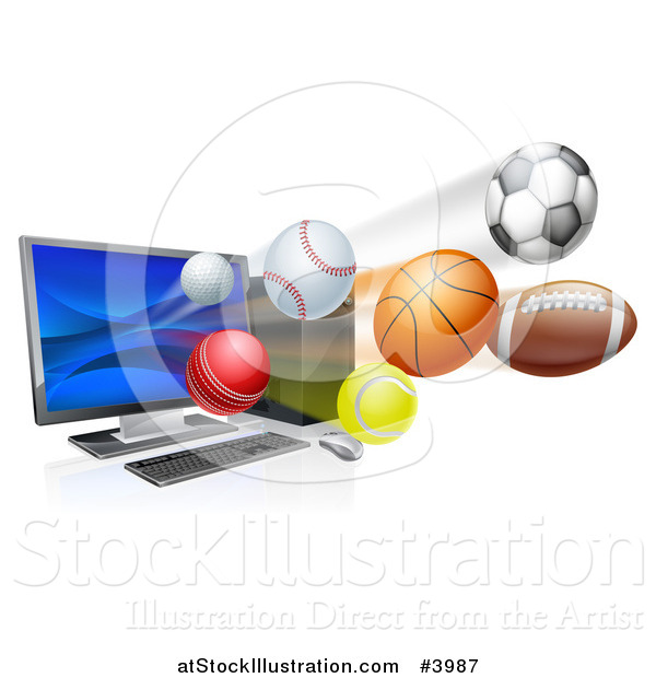 Vector Illustration of a Desktop Computer and Sports Balls Flying from the Screen