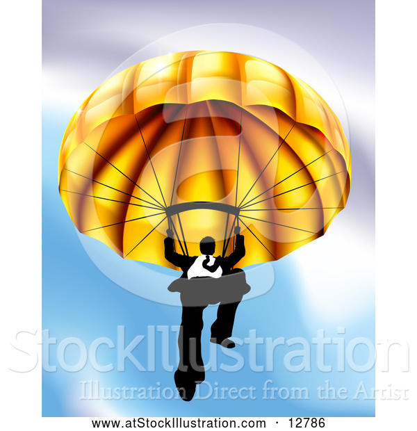 Vector Illustration of a Determined Business Man Declining from Sky with Gold Parachute