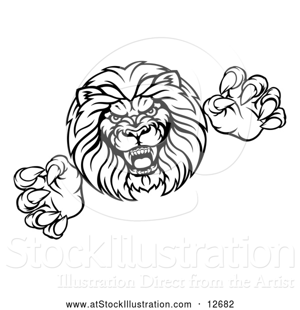 Vector Illustration of a Determined Lion Mascot Attacking - Black Outline