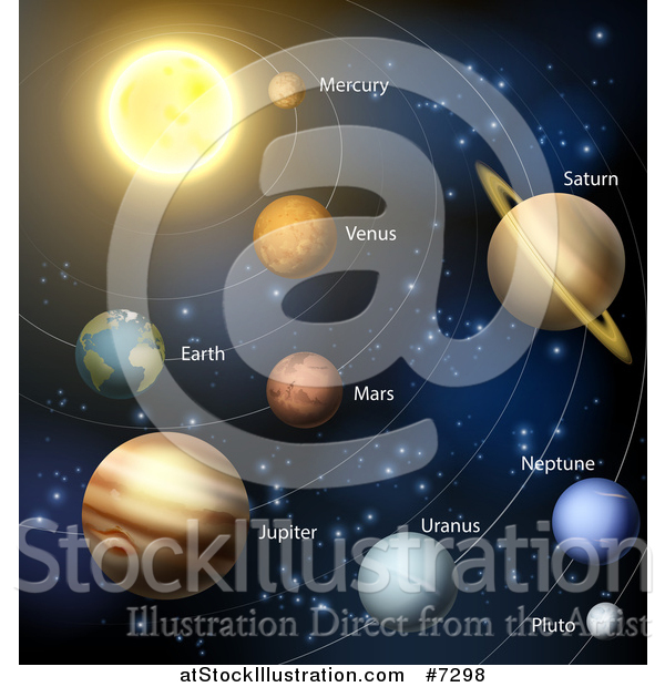 Vector Illustration of a Diagram of the Solar System with Labeled Planets and Blue Star Background 2