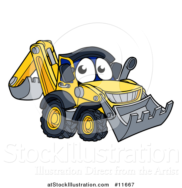 Vector Illustration of a Digger Bulldozer Mascot