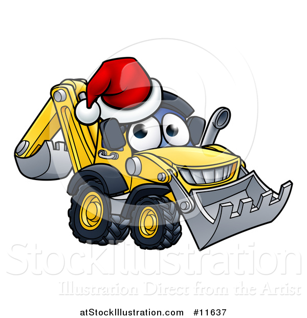 Vector Illustration of a Digger Bulldozer Mascot Wearing a Santa Hat