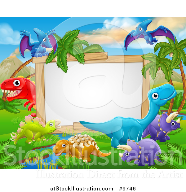 Vector Illustration of a Dinosaurs Landscape Sign - Cartoon Style
