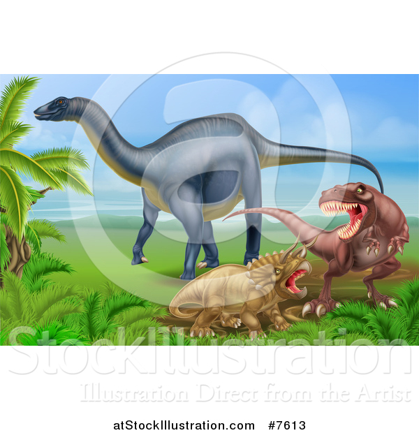 Vector Illustration of a Diplodocus Dinosaur by a T Rex and Triceratops in a Fight