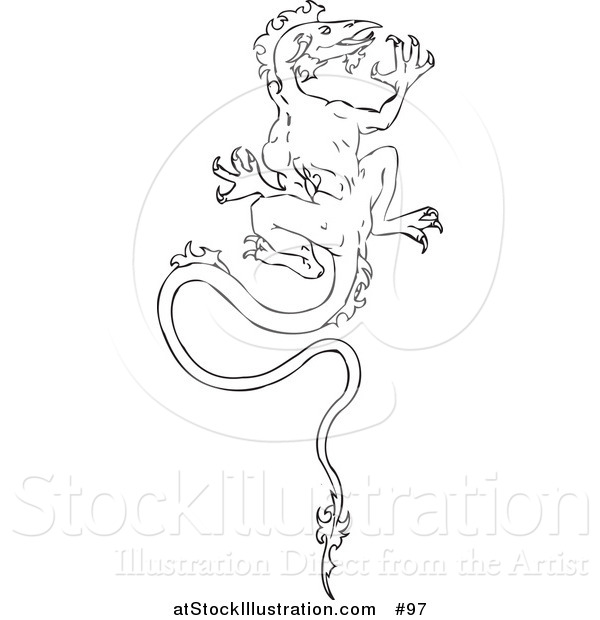 Vector Illustration of a Dragon Climbing a Wall - Outlined Version