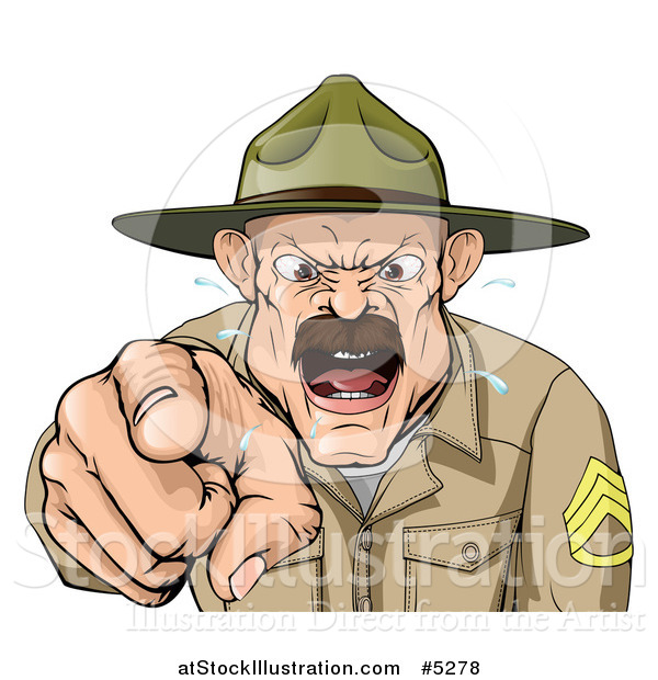 Vector Illustration of a Drill Sargent Spitting and Shouting