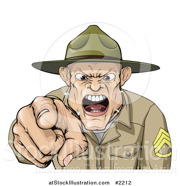 Vector Illustration of a Drill Sargent Spitting As He Shouts