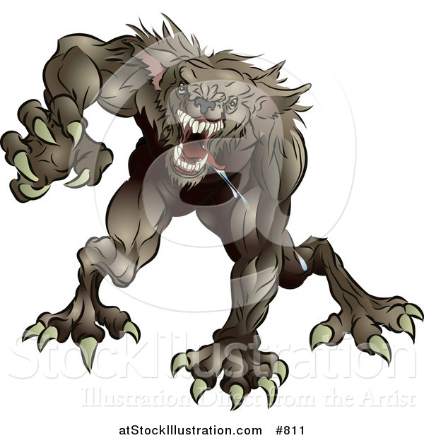 Vector Illustration of a Drooling and Growling Werewolf Monster Rushing Forward to Attack