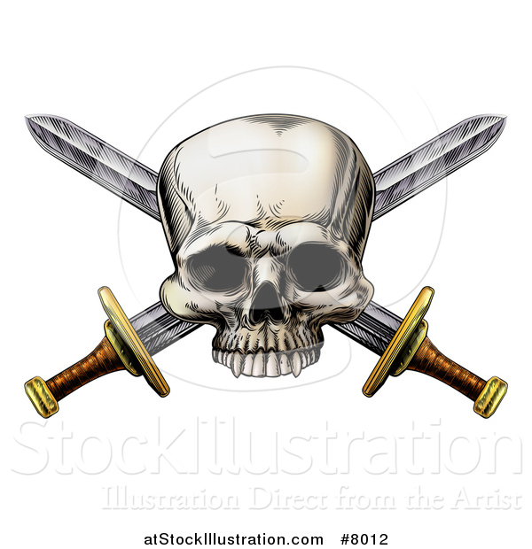 Vector Illustration of a Engraved Pirate Skull over Crossed Swords