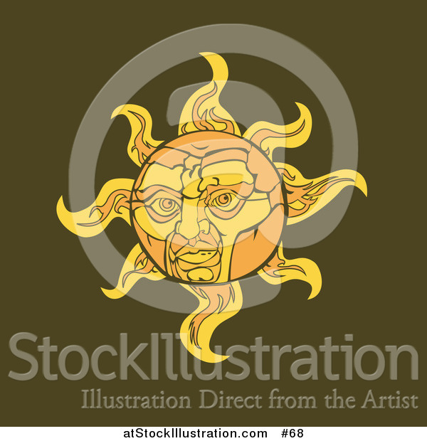 Vector Illustration of a Face on the Sun