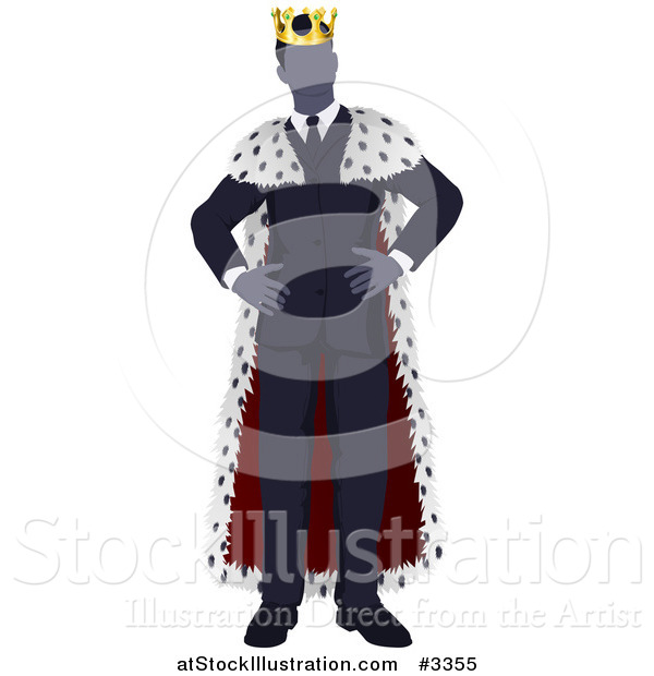 Vector Illustration of a Faceless Business King with Hands on His Hips