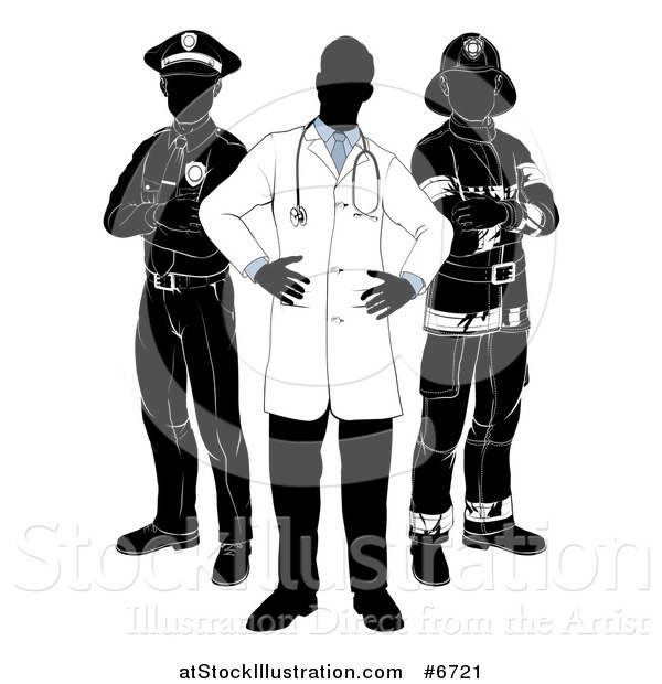 Vector Illustration of a Faceless Doctor with a Black and White Policeman and Firefighter Posing
