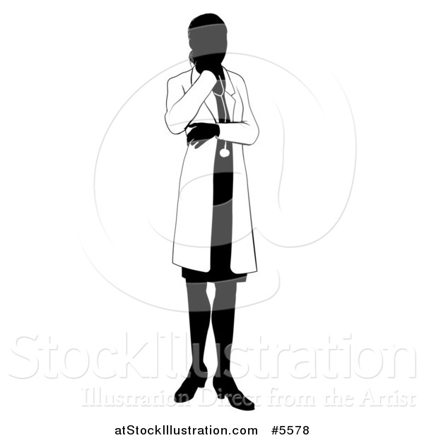 Vector Illustration of a Faceless Female Doctor