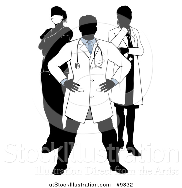 Vector Illustration of a Faceless Silhouetted Male Doctor Wearing a Lab Coat, Standing with Hands on His Hips, with His Team Behind Him