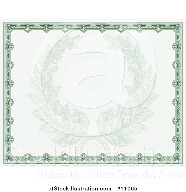 Vector Illustration of a Faded Engraved Laurel Wreath in a Green Certificate Border