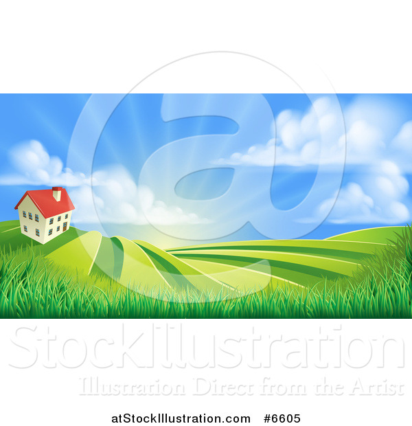 Vector Illustration of a Farmhouse Atop a Hill with Fields at Sunrise