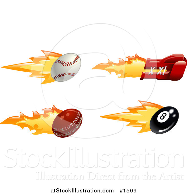Vector Illustration of a Fast Fiery Baseball, Boxing Glove, Cricket Ball and Eight Ball