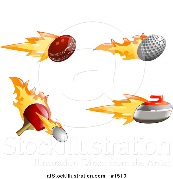 Vector Illustration of a Fast Fiery Cricket, Golf and Tennis Balls with a Curling Stone