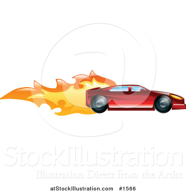 Vector Illustration of a Fast Red Sports Car Speeding with Flames