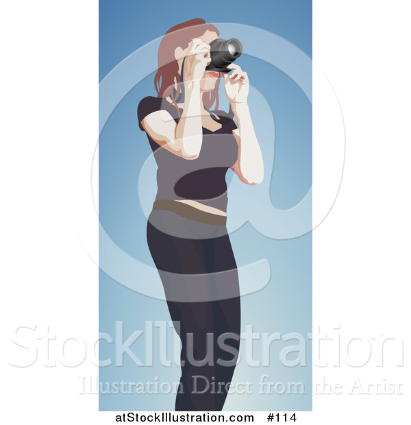 Vector Illustration of a Female Photographer Taking Photograph with Camera