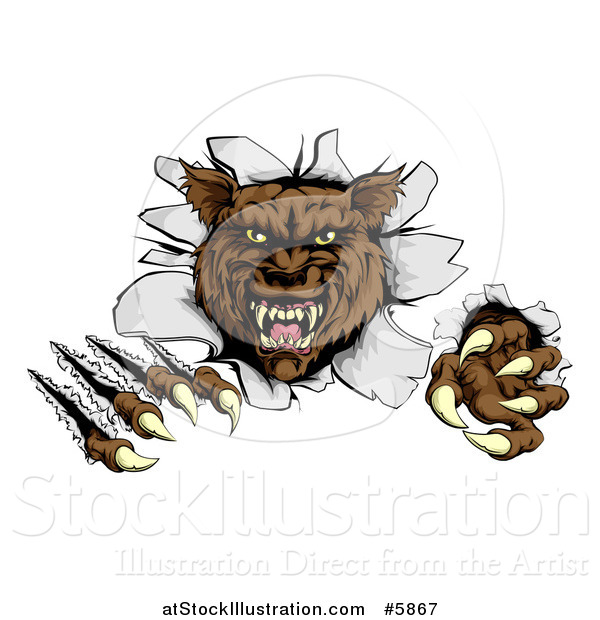 Vector Illustration of a Ferocious Brown Wolf Slashing and Breaking Through a Wall