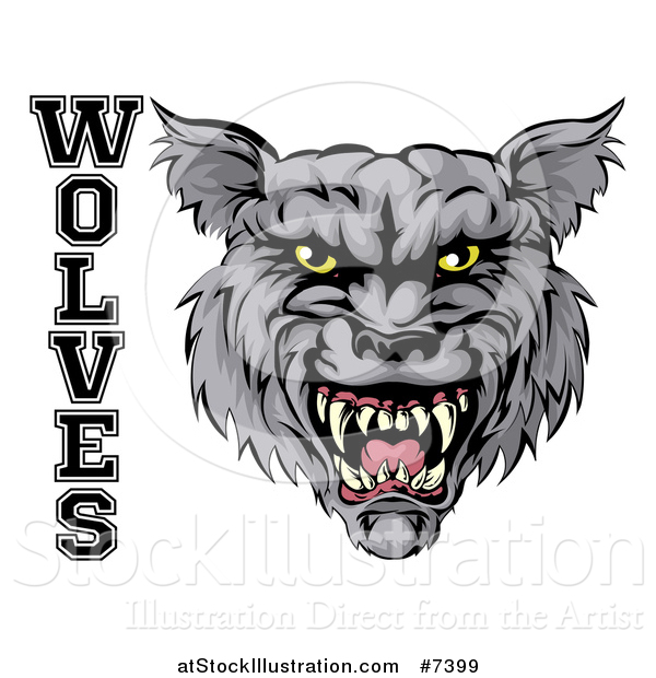 Vector Illustration of a Ferocious Gray Wolf Mascot Head and Text