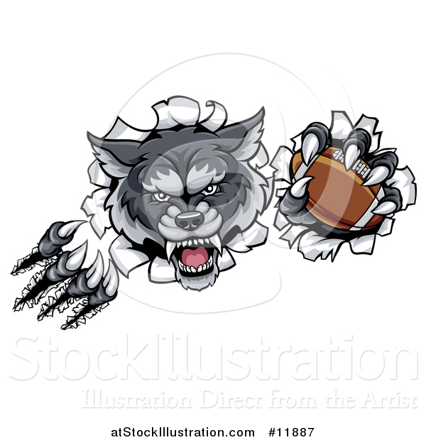 Vector Illustration of a Ferocious Gray Wolf Slashing Through a Wall with a Football