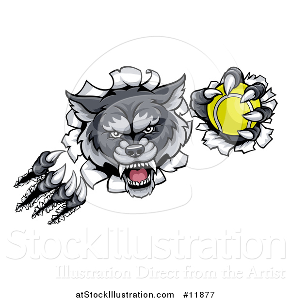 Vector Illustration of a Ferocious Gray Wolf Slashing Through a Wall with a Tennis Ball