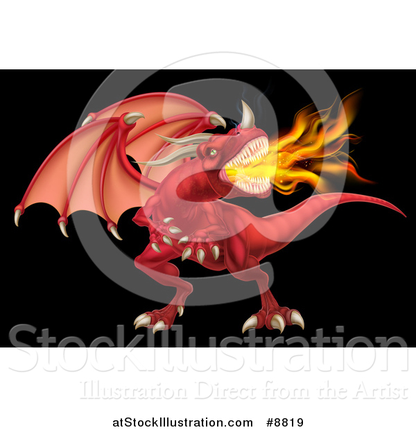 Vector Illustration of a Fierce Angry Red Fire Breathing Dragon with a Horned Nose, on Black