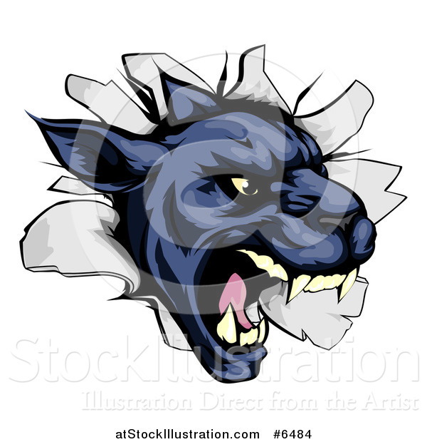 Vector Illustration of a Fierce Black Panther Breaking Through a Wall
