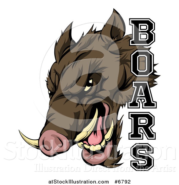 Vector Illustration of a Fierce Brown Boar Mascot Head with Text