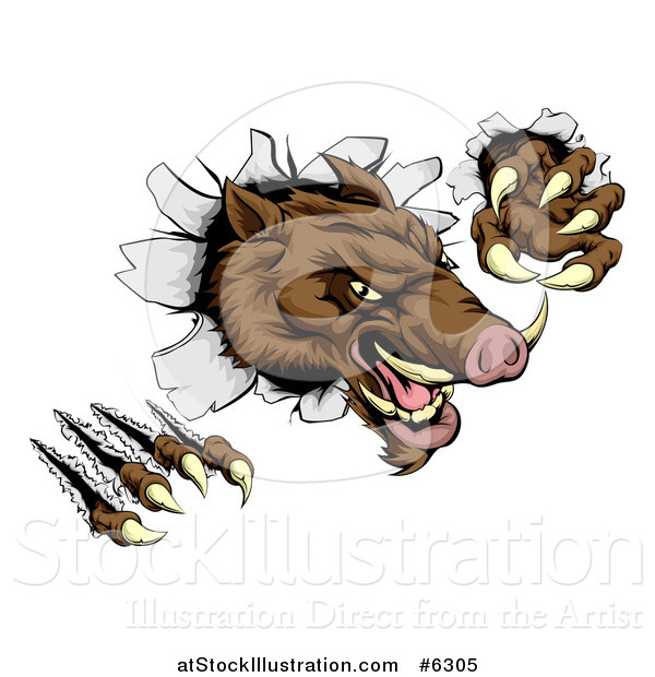 Vector Illustration of a Fierce Brown Boar Monster Clawing Through a Wall
