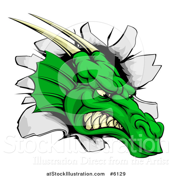 Vector Illustration of a Fierce Green Dragon Mascot Head Breaking Through a Wall