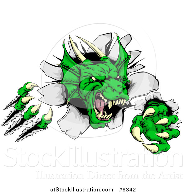 Vector Illustration of a Fierce Green Dragon Mascot Head Shredding Through a Wall