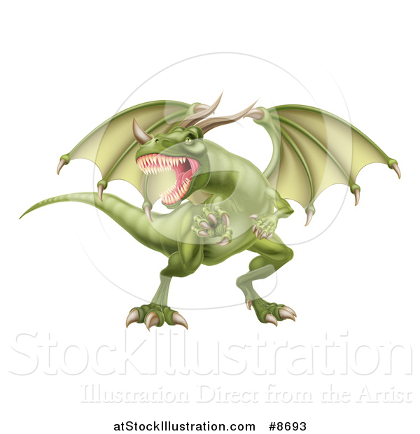 Vector Illustration of a Fierce Green Dragon with a Horned Nose